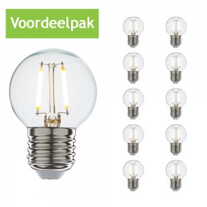 Voordeelpak Led filament E27 kogellamp warm wit 1W (10x)